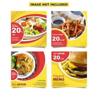 Modello di post di instagram social media cibo
