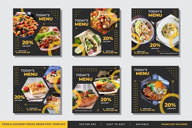 Modello di post di social media culinari e alimentari