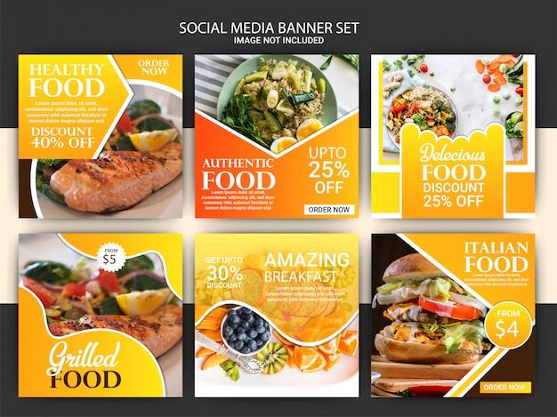 Modello di post di social media di cibo e ristorante