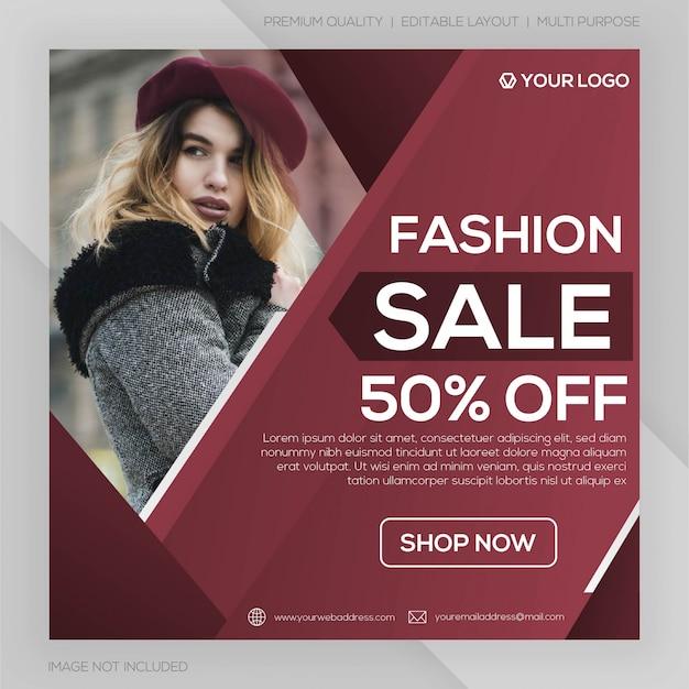 Modello di post di social media di vendita di moda