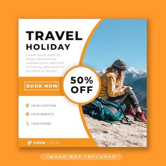 Modello di post di social media di viaggio