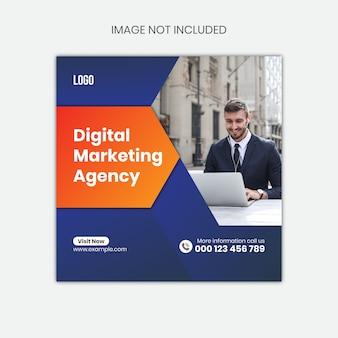 Modello di post di social media, modello di banner di social media, modello di post di instagram di social media, modello di banner di agenzia di marketing digitale