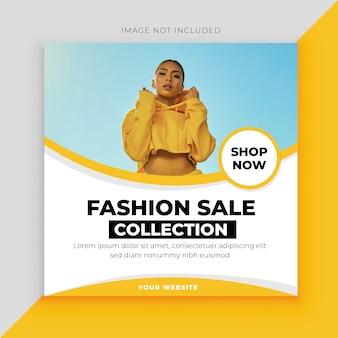 Modello di post di social media vendita moda giallo