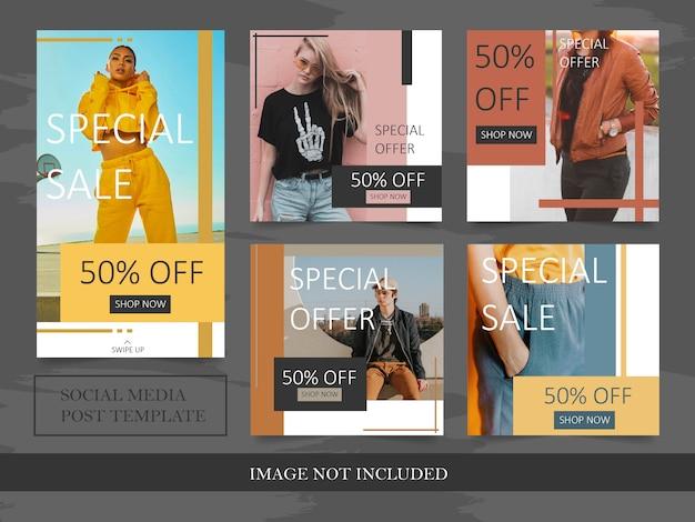 Modello di post di vendita di moda minimalista instagram