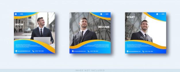 Modello di post e banner di instagram di crescita aziendale