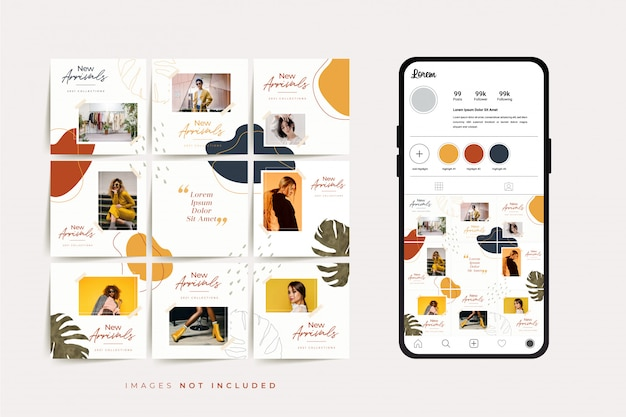 Modello di post griglia di social media puzzle frame per la promozione della vendita di moda