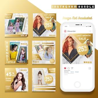 Modello di post oro instagram moda