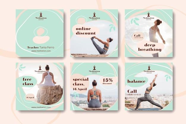 Modello di post social media meditazione