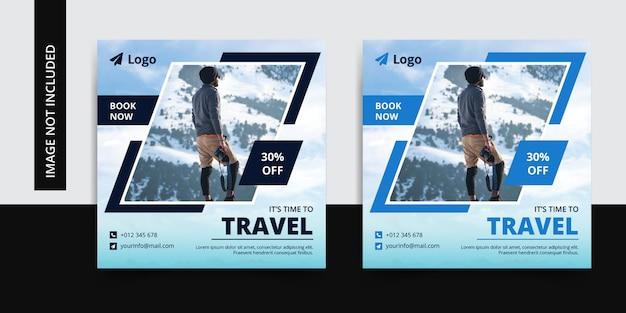 Modello di post sui social media di instagram per viaggiare
