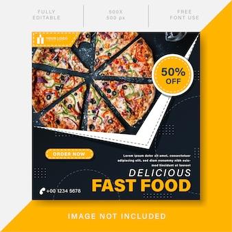 Modello di post sui social media di promozione gustosa del cibo del ristorante