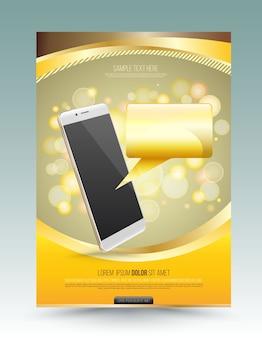 Modello di poster color oro per la tecnologia