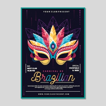 Modello di poster colorato carnevale brasiliano