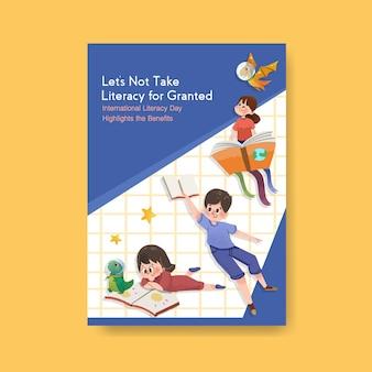 Modello di poster con concept design della giornata internazionale dell'alfabetizzazione