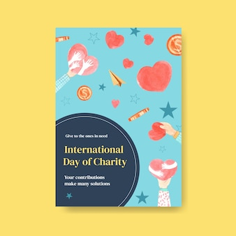 Modello di poster con concept design giornata internazionale della beneficenza