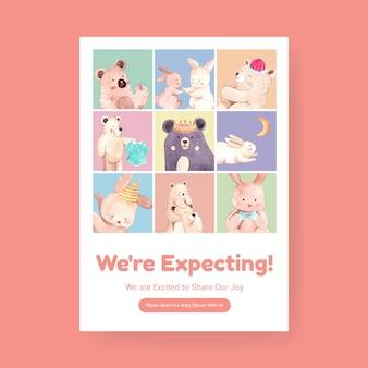 Modello di poster con concetto di design baby shower per pubblicizzare e marketing illustrazione vettoriale acquerello.