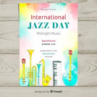 Modello di poster di acquerello internazionale jazz giornata