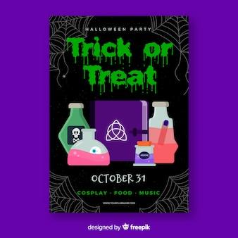 Modello di poster di alchimia festa di halloween