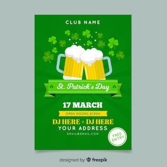 Modello di poster di birra st patrick's day