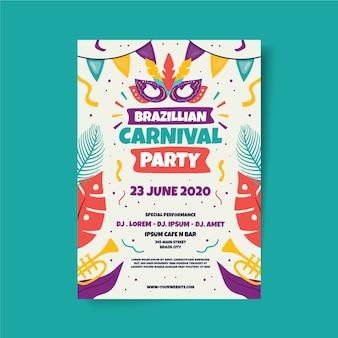 Modello di poster di carnevale brasiliano disegnato a mano