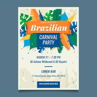 Modello di poster di carnevale brasiliano