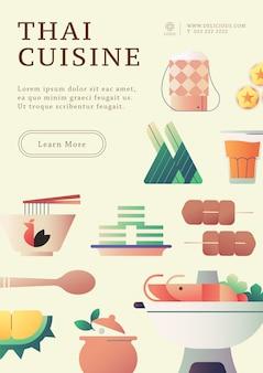 Modello di poster di cibo tailandese