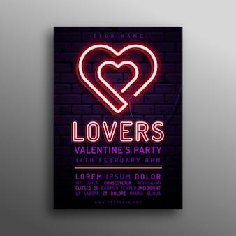 Modello di poster di cuori al neon di san valentino