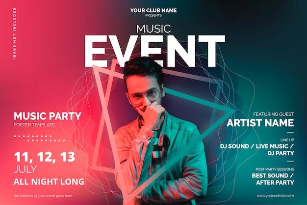 Modello di poster di eventi musicali con forme astratte