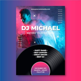 Modello di poster di eventi musicali per dj e musicista