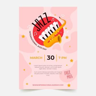 Modello di poster di giornata jazz internazionale in design piatto