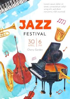 Modello di poster di giornata jazz internazionale