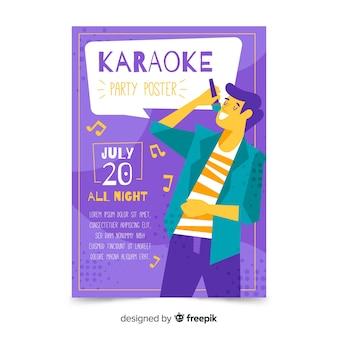 Modello di poster di karaoke disegnato a mano