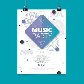 Modello di poster di musica astratta del partito