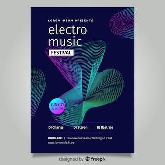 Modello di poster di musica astratta onda