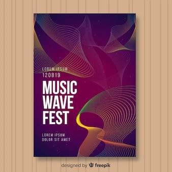 Modello di poster di musica dell'onda sonora