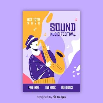 Modello di poster di musica disegnata a mano