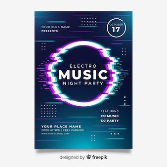 Modello di poster di musica elettronica effetto glitch