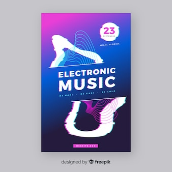 Modello di poster di musica elettronica