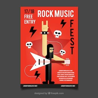 Modello di poster di musica rock party