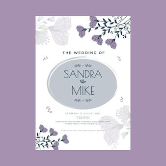 Modello di poster di nozze floreale