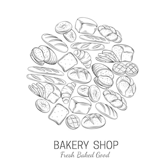 Modello di poster di panetteria, negozio di pane
