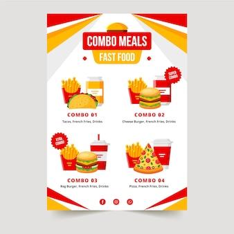 Modello di poster di pasti combinati