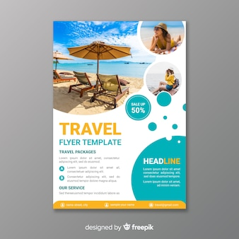 Modello di poster di viaggio con foto