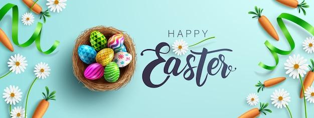 Modello di poster e banner di pasqua con fower, carote e uova di pasqua nel nido