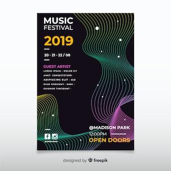 Modello di poster festival di musica colorata