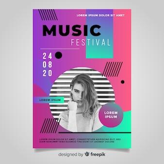 Modello di poster festival di musica gradiente