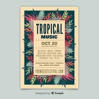 Modello di poster festival di musica tropicale vintage