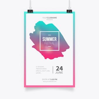 Modello di poster festival estivo