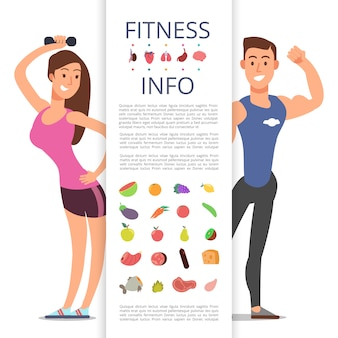Modello di poster informativo di fitness. personaggio dei cartoni animati di sport