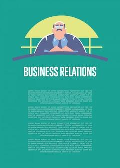 Modello di poster informativo di relazioni commerciali con grande capo