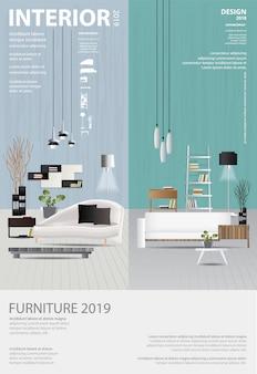 Modello di poster interior design